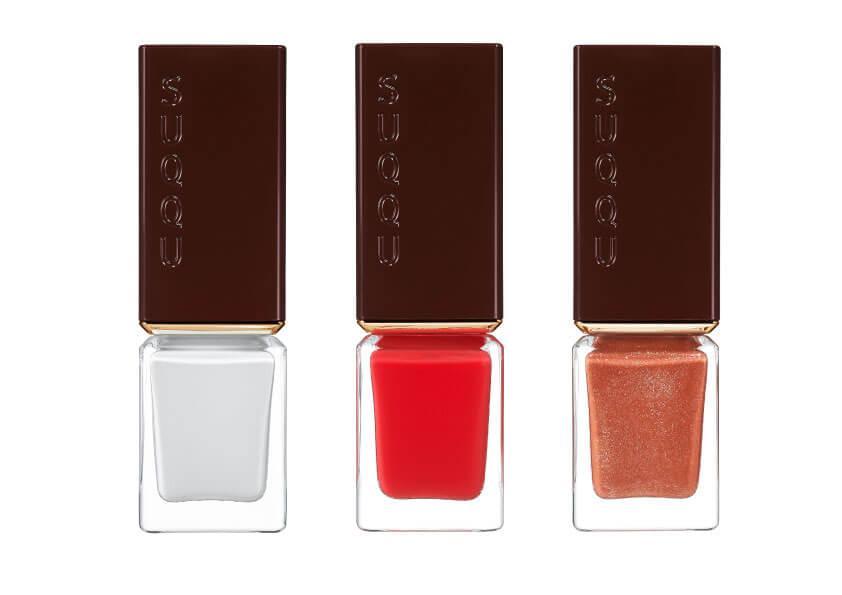 左から 「SUQQU ネイル カラー ポリッシュ 107、108、109」 限定色3種 各2,500円(税別)