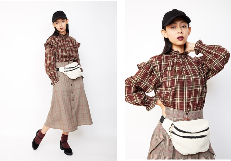 衣装協力:WEGO モデル:小林サラ /メイク:風間義則 @Juice /ヘア:Ken Yoshimura @AVGVST