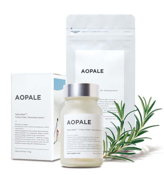 「AOPALE(アオパレ)」ボトルタイプ 13.5g(450mg×30カプセル)9,800円(税別)、パウチタイプ3.1g(450mg×7カプセル)2,500円(税別)/エイベックス