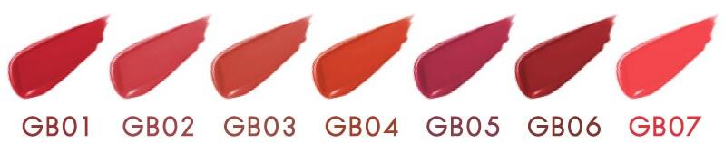 「グレイズバームリップ」(左から) GB01 レッドガーネット、GB02 ピーチタルト、GB03 アプリコットシナモン、GB04 ハニーネクター、GB05 カシスロゼ、GB06 ショコラベリー、GB07 ウォーターメロン 各1,600円(税別)