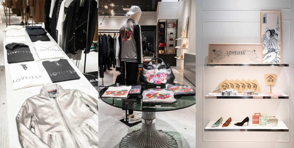 (左から)「《SILVER8 COLLECTION》」、「韓 美林×LOVELESS GINZA TIMELESS 8」限定コラボ商品、「新吉原x LOVELESS GINZA TIMEESS 8」コラボ商品