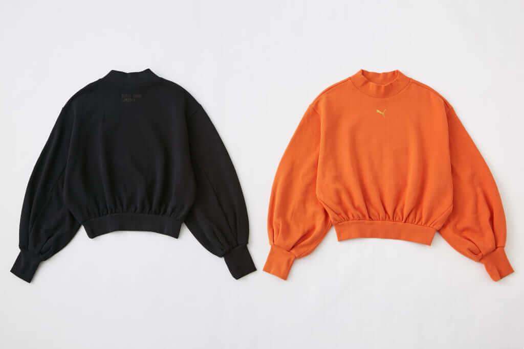 「PUMA x SLY LOGO SWEAT TOPS」BLACK、ORANGE 各6,490円(税別)