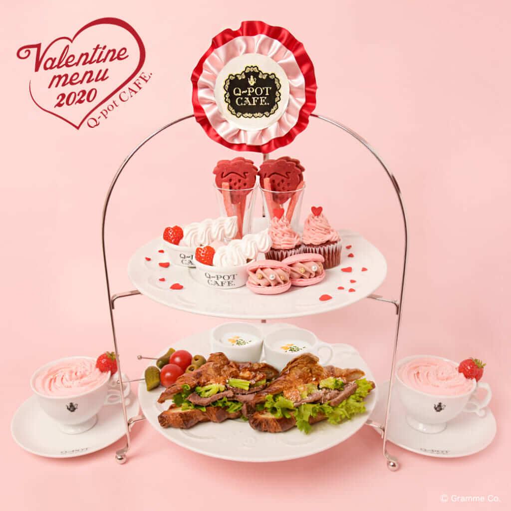 Q-pot CAFE.(キューポットカフェ)表参道本店 ストロベリー アフタヌーンティーセット(ドリンク付き)/2,400円(税込)