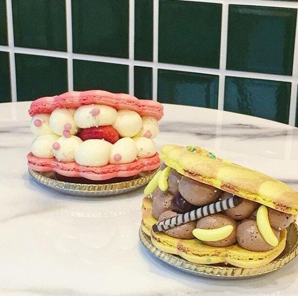macapresso(マカプレッソ)イチゴ貝マカロン/¥820(税込み)、チョコバナナ貝マカロン/¥780(税込み)