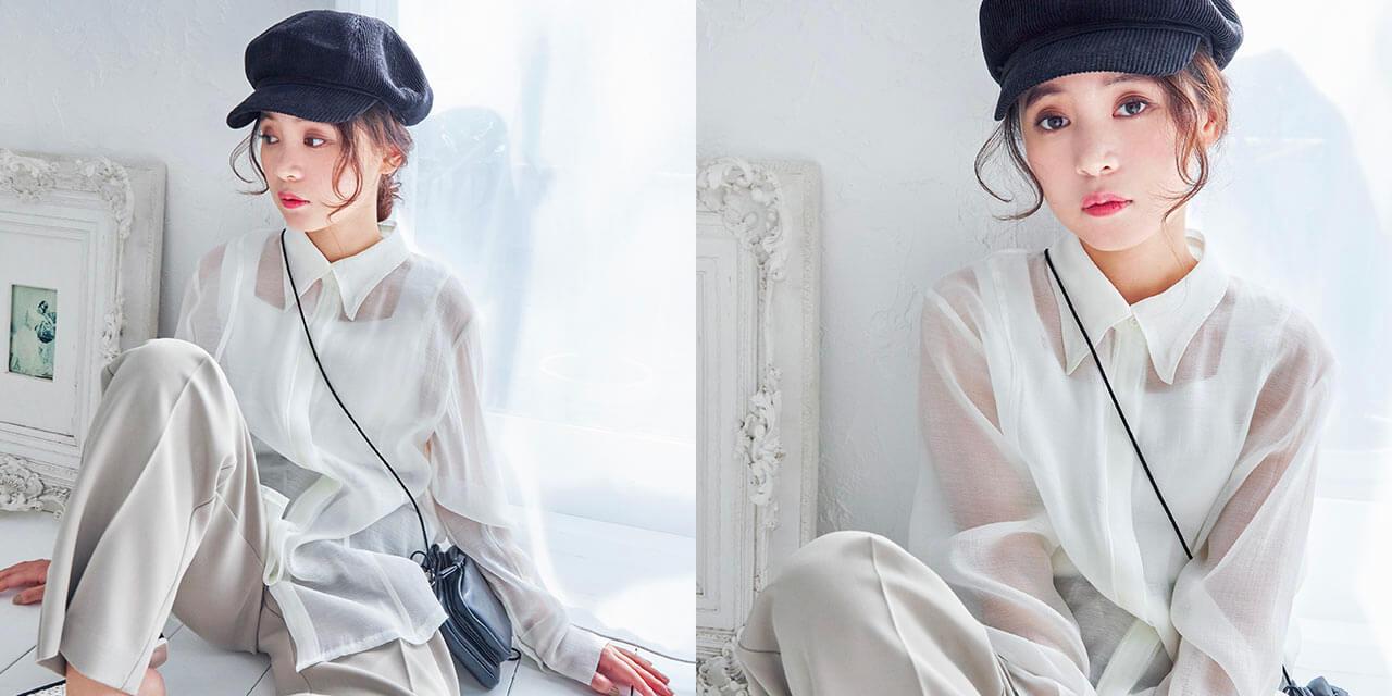 Isn't She?(イズントシー)シアーカラーシャツのホワイト着用画像