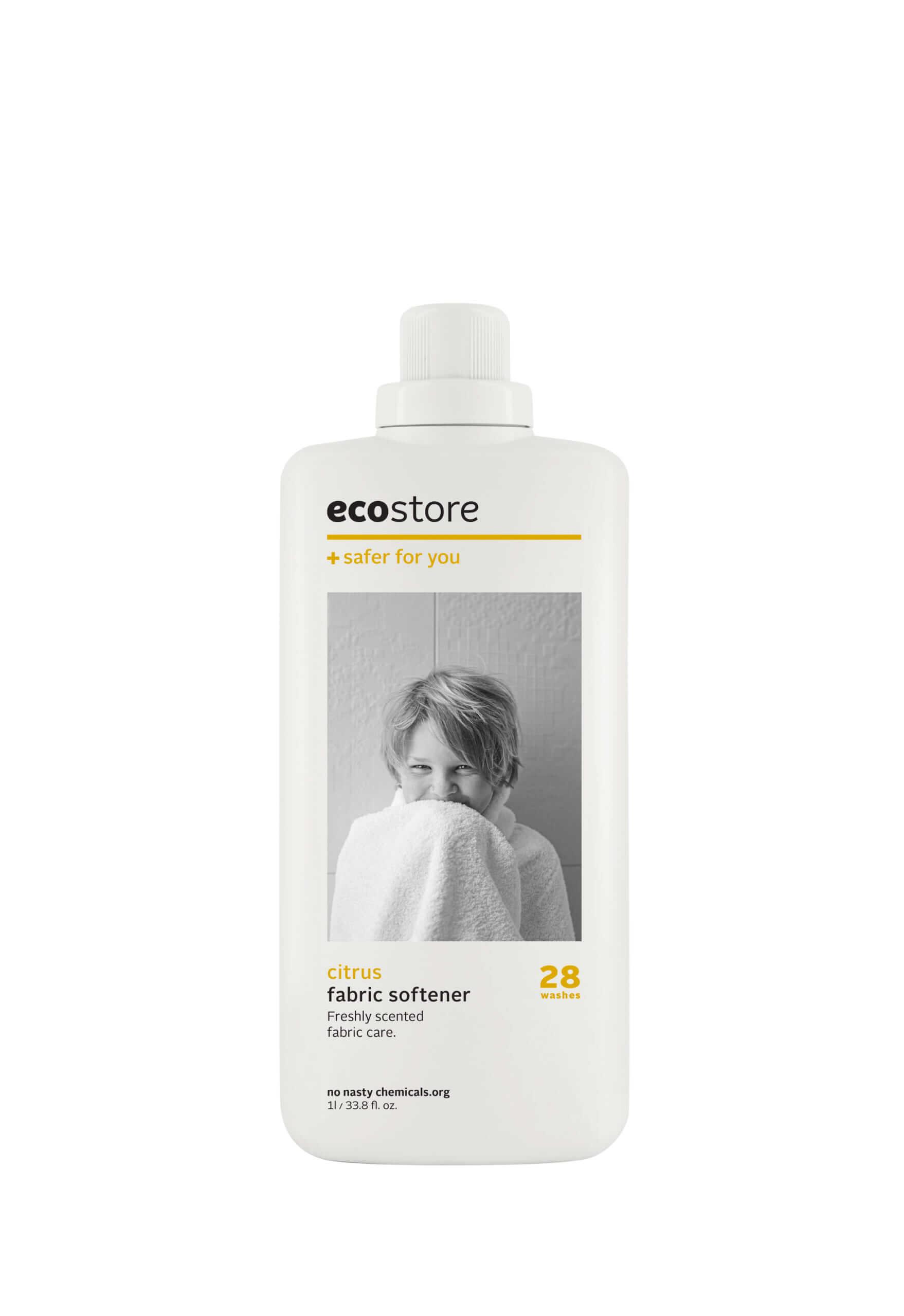 ecostore(エコストア)のファブリックソフナー<シトラス> 500mL/¥748(税込み)、1L/1,408(税込み)
