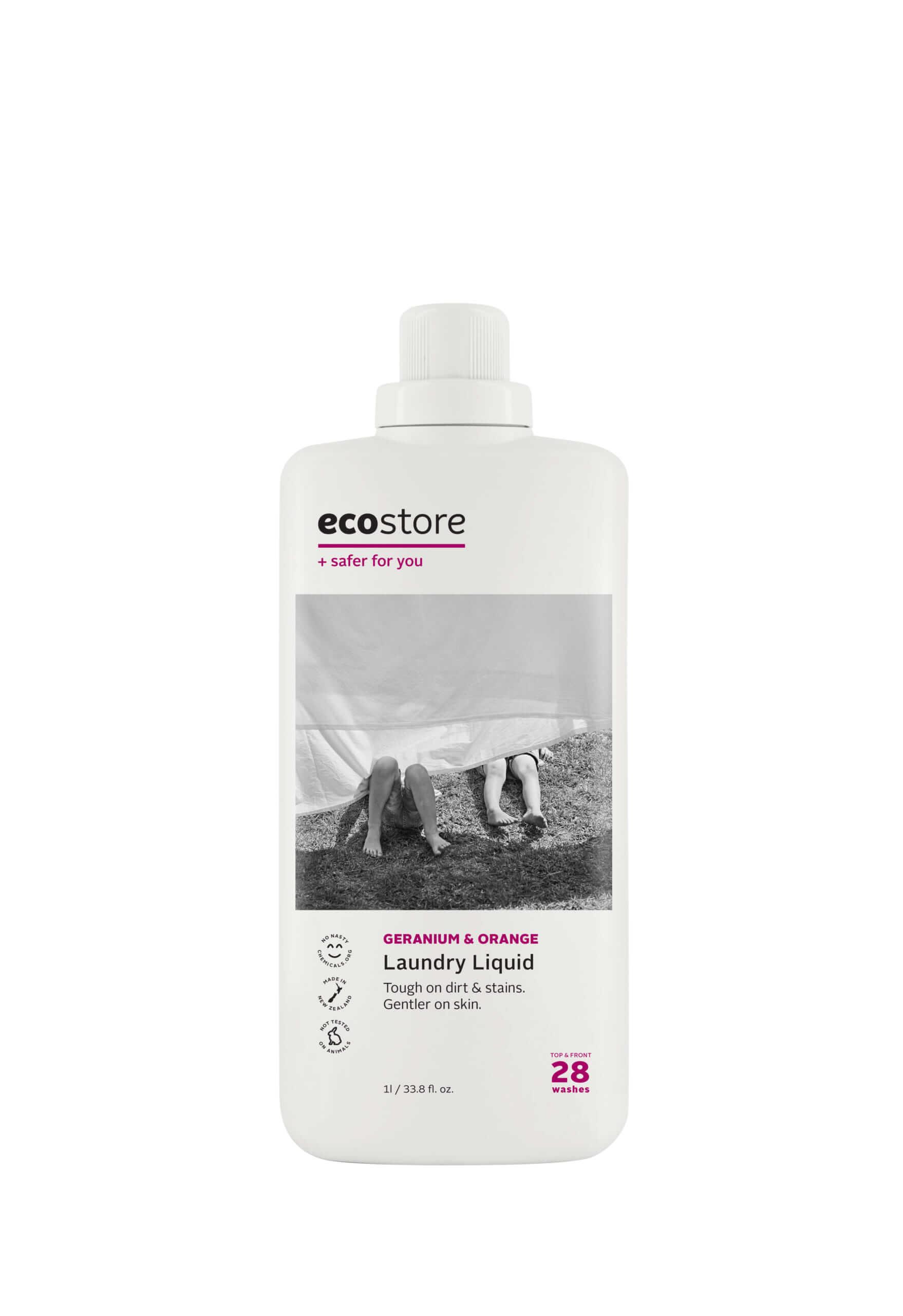 ecostore(エコストア)のランドリーリキッド<ゼラニウム&オレンジ> 500mL/¥748(税込み)、1L/¥1,298(税込み)