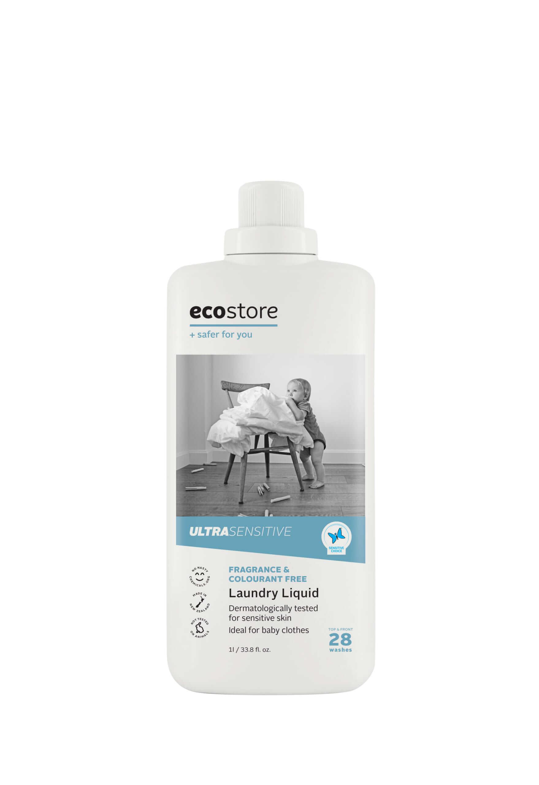 ecostore(エコストア)のランドリーリキッド<無香料> 500mL/¥748(税込み)、1L/¥1,298(税込み)