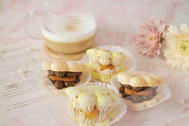 Kitty SweetsのもみじトゥンカロンBOX モンブラン&ほうじ茶4個セット/¥3,200(税込み)