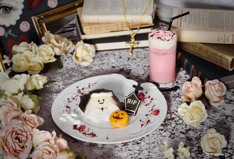 Q-pot CAFE.(キューポットカフェ)」の2020年ハロウィン限定メニューMad Sweets シスターオバケちゃん プレート(ドリンクセット)/¥ 2,060円(税込み)