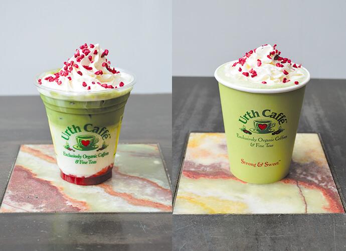 Laline×Urth CafféのLaline's Botanical Special オリジナルドリンクのグリーン&ベリーラテ(ICE・HOT)/¥693(税込み)