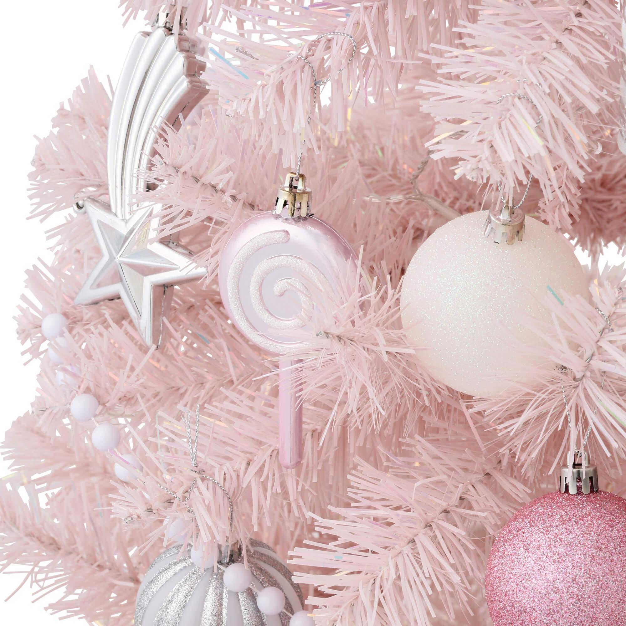 クリスマスツリー スターターセット150cm ピンクのオーナメント