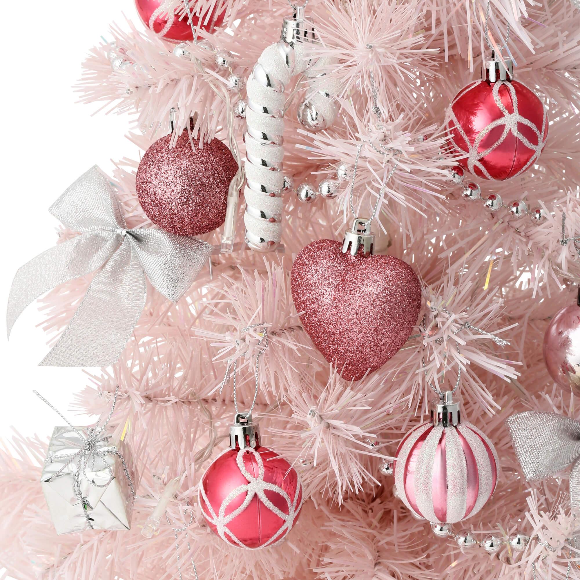 クリスマスツリー スターターセット60cm ピンクのオーナメント