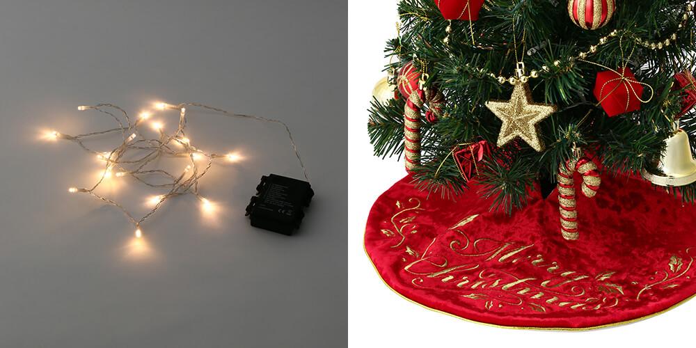 クリスマスツリー スターターセット60cm グリーンのライトとツリースカーフ