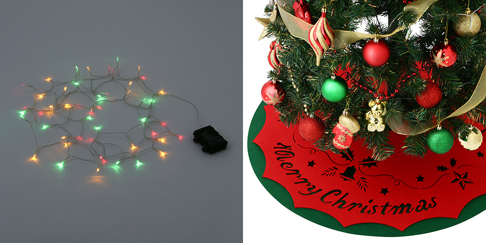 クリスマスツリー スターターセット 150cm グリーンのライトとツリースカーフ