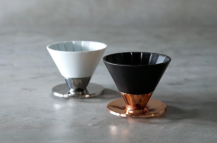 Beasty Coffee by amadanaのドリッパー マットブラック/¥5,500、グロスホワイト/¥4,400(ともに税込み)