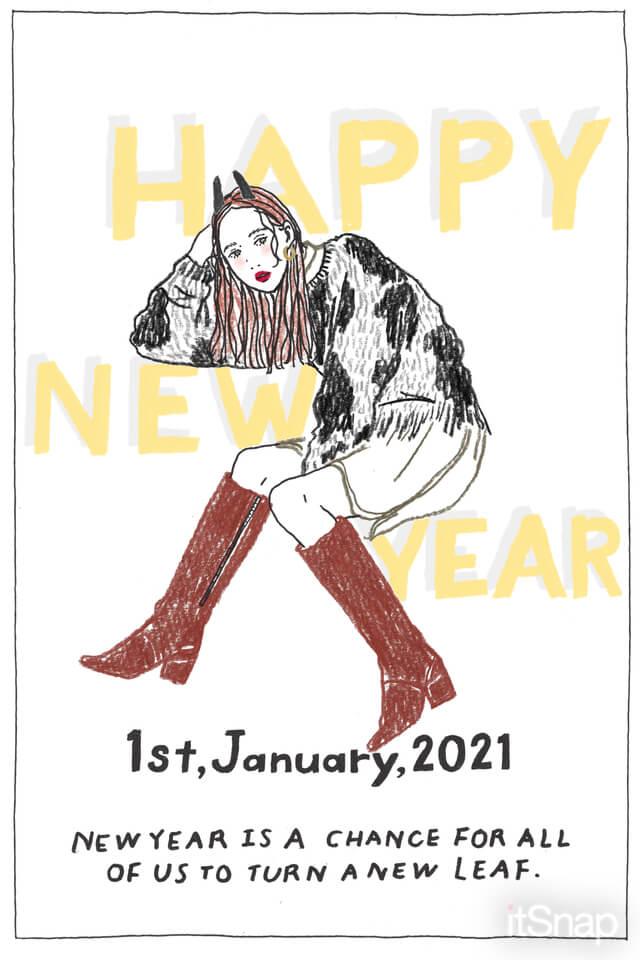 新年のファッションイラストby itabamoe
