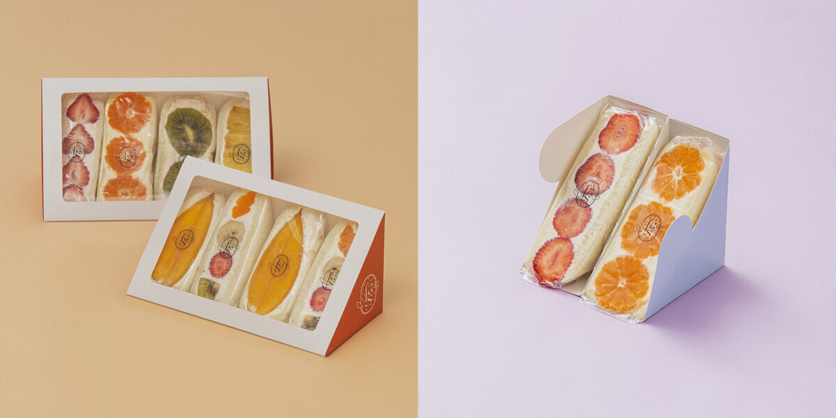 fruits and season(フルーツ アンド シーズン)の定番のフルーツサンド(4個セット)/¥4,000、季節のフルーツサンド(4個セット)/¥4,320(すべて税込み)