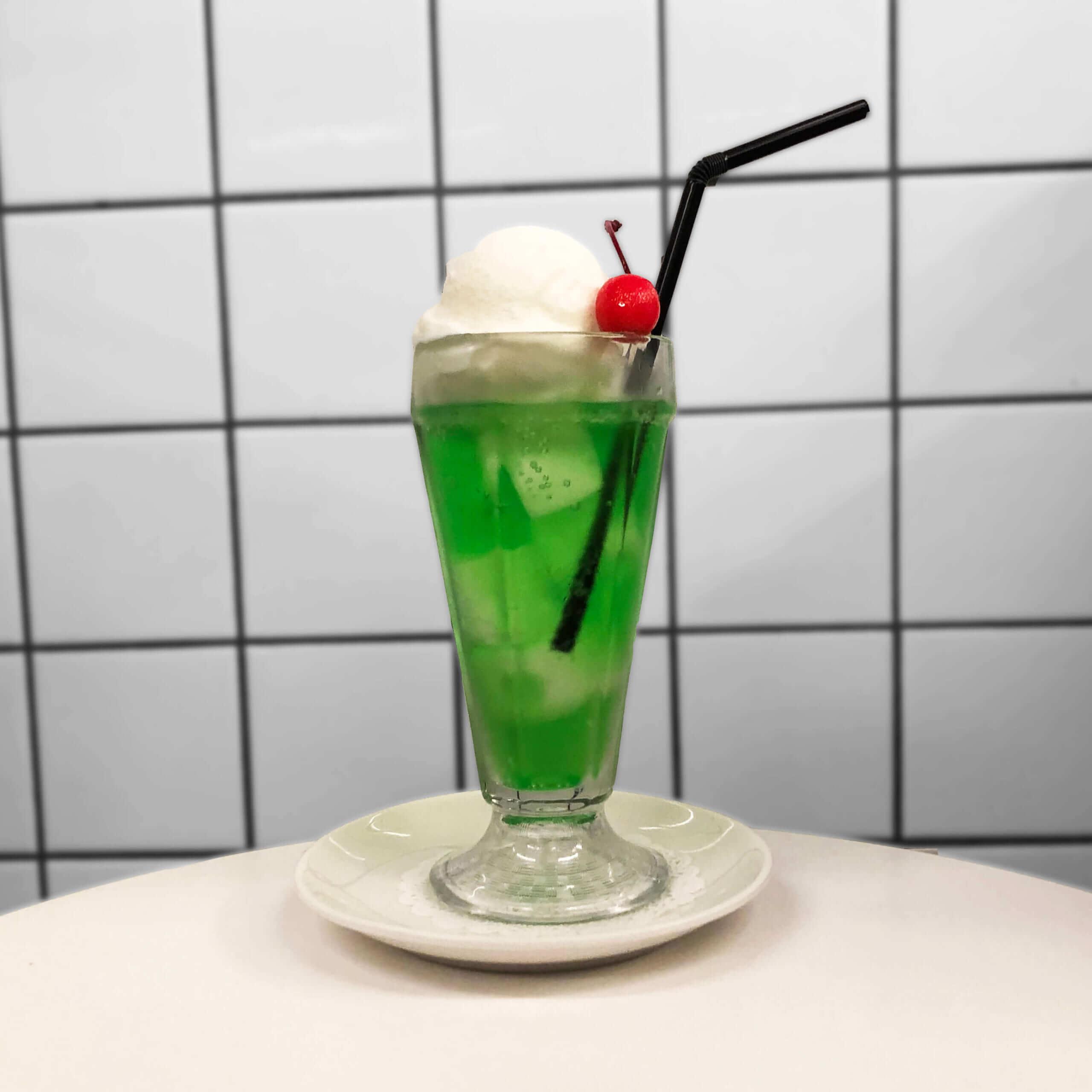 BIG BABY ICE CREAM(ビッグベイビーアイスクリーム)のメロンソーダー ¥650(税込み)