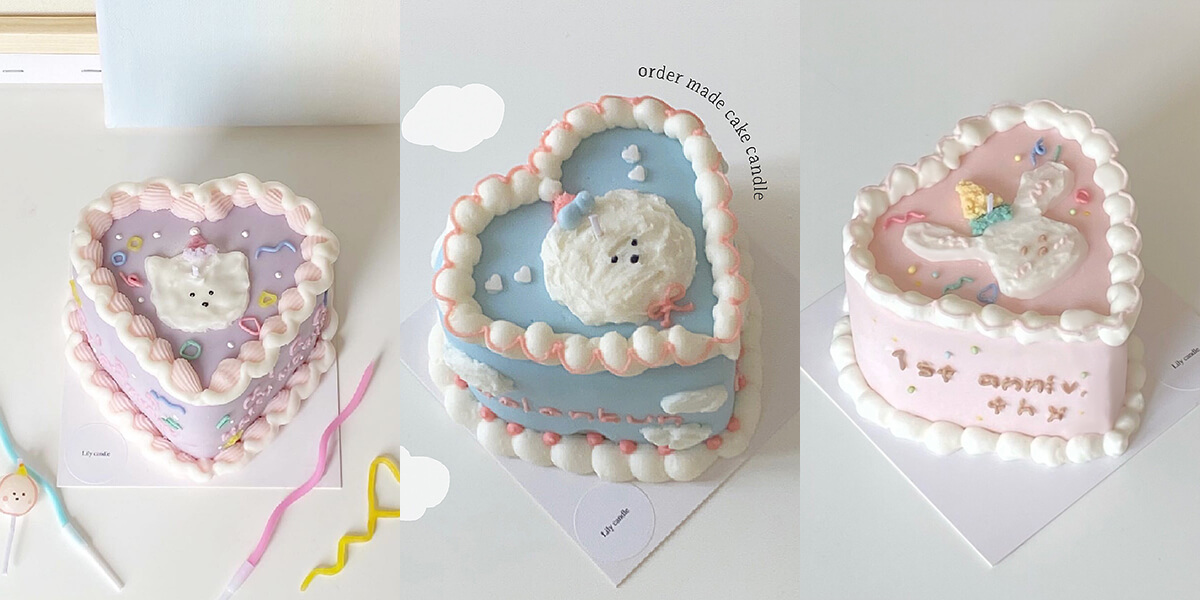 Lily candle(リリーキャンドル)のOrder made cake candleハートケーキ/¥5,900円〜、ホールケーキ/¥5,500円〜(すべて税込み)