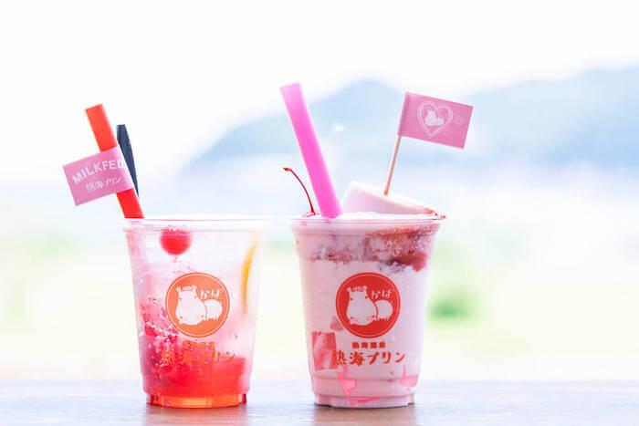熱海プリンMILKFED.コラボピンクソーダ/¥500、いちごのプリンフロート/¥700(ともに税込み)