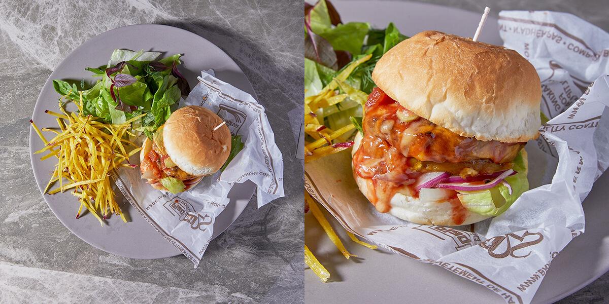 & OIMO TOKYO CAFE 中目黒店の鴨と蜜芋のヘルシーバーガー〜トリュフ塩のさつまいもフレンチフライとサラダを添えて〜/¥1,500(税込み)